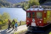 Bernina roter Zug mit Hund und Aufenthalt
